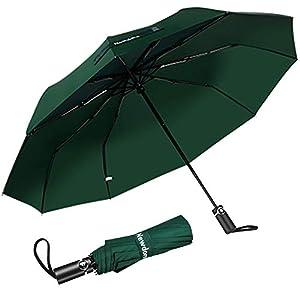 Newdora Paraguas Plegable Automático Impermeable 10 Armazones de Metal Compacto Resistencia contra Viento para Viaje para Hombres y Mujeres (Verde)