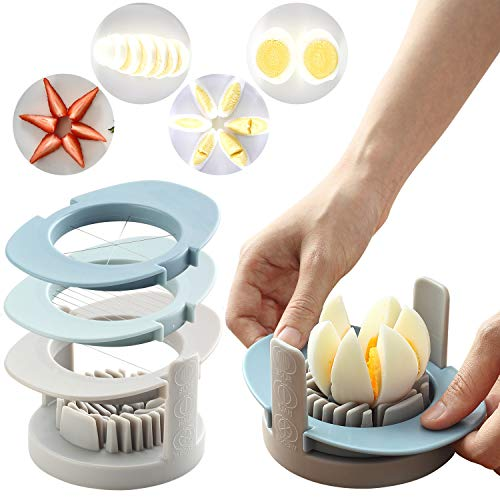 RMAI Eggs Slicer, 3 In 1 Multi-Function egg Cutter Fruit Slicers Convenient Slicer with Stainless Steel Cutting Wires Non-Slip Base Kitchen Tools Great for Deviled Egg,Salads Sandwiches (Blue)