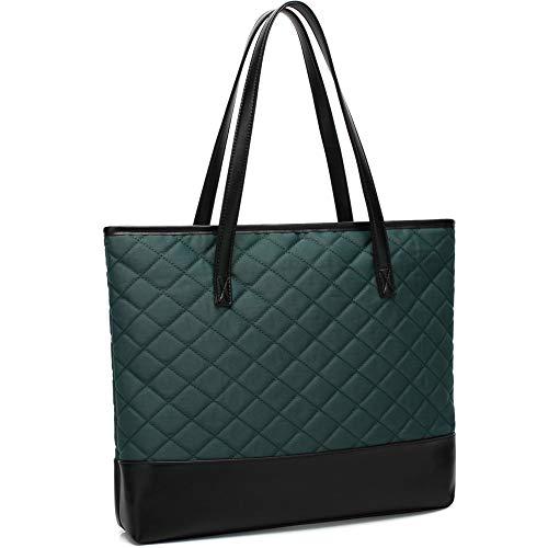 Large Tote Bag for Women 15.6 Inch USB Laptop Shoulder Purse Bag for Teacher Work School Travel Handbags green Size: L