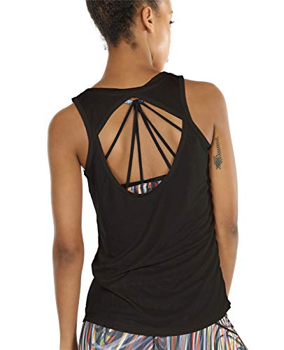 icyzone Damen Yoga Sport Tank Top - Rückenfrei Fitness Shirt Oberteil ärmellos Training Tops (M, Black