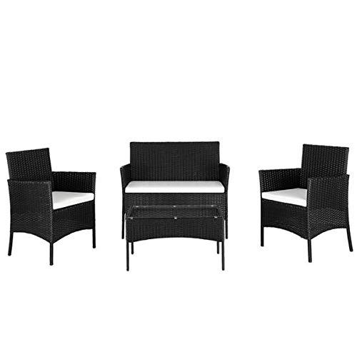 N\C 2pcs Arm Chairs 1pc Love Seat & Tempered Glass Coffee Table Rattan Sofa Set Black
