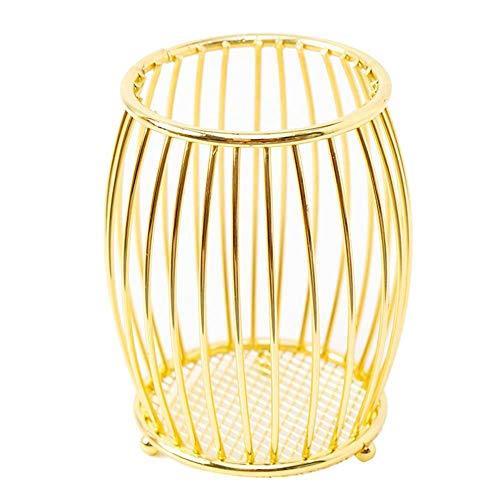 CAOLATOR Portalápices Forma de tambor Hierro Soporte para lápices Contenedor de Bolígrafo de Forma Malla Contenedor de Utensilios Color Oro, Diseño Moderno, para Oficina Casa-Oro noble
