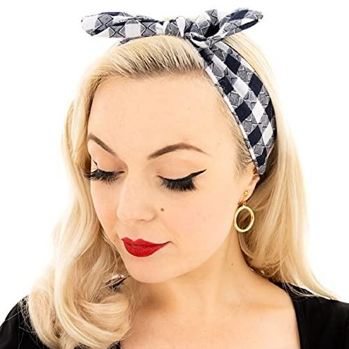 Ro Rox Pinup Vintage Retro Dolly Bow Diadema Banda para el cabello Accesorio alternativo - Azul marino (Large Check)