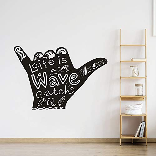 jiushivr Water Sports Vinyl Wall Decal Shaka Surfing Wall Poster Home Decor Surfering Wave Quote Wall Mural Surfer Hand Stic 124x84cm