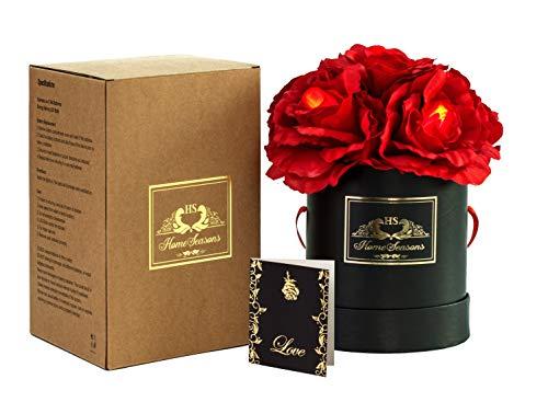 Homeseasons Pre-Lit LED Lighted Silk Rose Gift Box (Red)