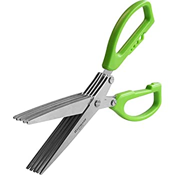 Westmark Germany Stainless Steel 5-Blade Herb Scissors with Cleaning Comb  Green