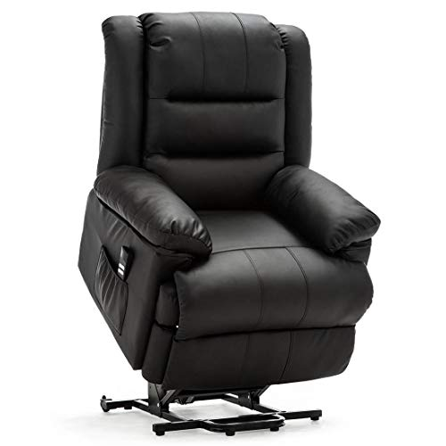 More4Homes LOXLEY DUAL MOTOR ELECTRIC RISE RECLINER BONDED LEATHER ARMCHAIR ELECTRIC LIFT RISER CHAIR (Black)