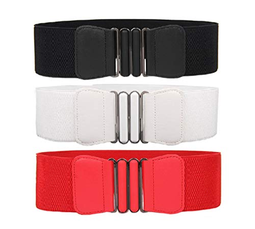 Swtddy 3 Pack Women's Elastic Wide Stretchy Waist Cinch Belt Waistband For Dresses (Suit For Waist Size 27'-35', Black+White+Red)