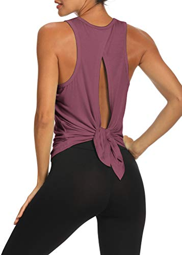 Bestisun Womens Workout Tops Yoga Athletic Shirts Exercise Gym Clothes Tie Back Top Muscle Tank Yoga Workout Tank Tops Activewear Backless Shirts Magenta S