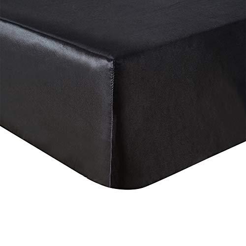 HOTNIU 1 Stück Emulation Satin Seide Spannbetttuch, Plain Dyed Bettwäsche, Seide Bettlaken, Rutschfester Satin Anti-Falten & Verblassen (71x79 (180 * 200cm), Schwarz)
