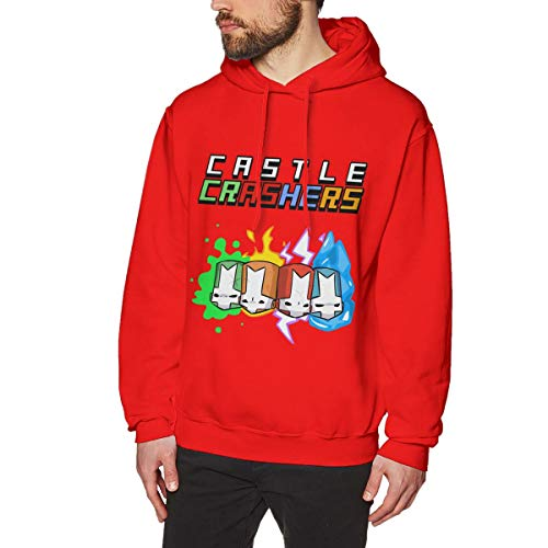 Xieqingqing234 Men's Cas-tle Knights Flame CRA-shers Long Sleeve Sweater Fashion Sports and Travel Hooded Sweatshirt XXL Red