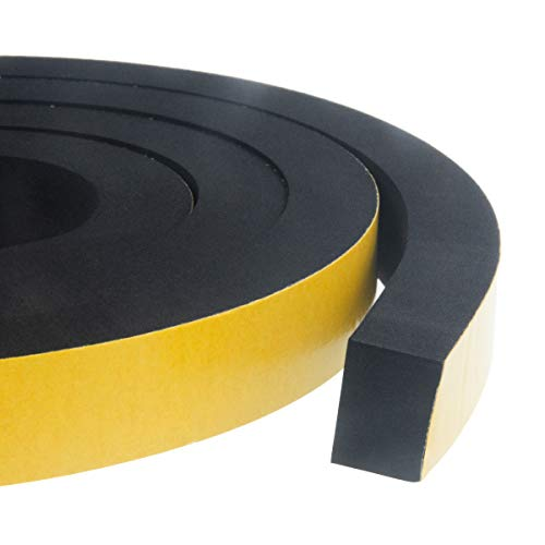 "High Density Foam Insulation Tape Adhesive, Seal, Doors, Weatherstrip, Waterproof, Plumbing, HVAC, Windows, Pipes, Cooling, Air Conditioning, Weather Stripping, Craft Tape 1"" (W) x 3/4"" (T) x 13' (L)"