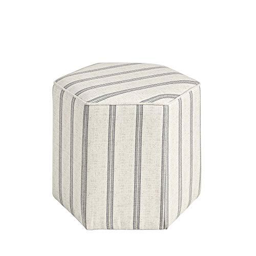 Martha Stewart Ellen Accent Ottoman - Solid Wood Frame, Soft Fabric, Hexagonal Small Stool Chair...