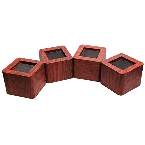 Lot de 4 rehausseurs de lit de 7,5 cm - En bois synthétique, PVC, marron foncé, 2.95inch