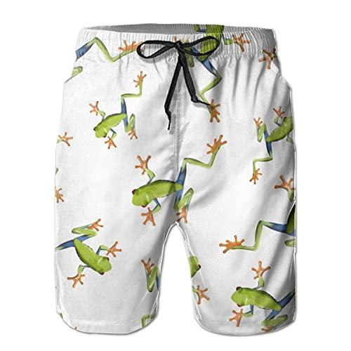 huatongxin Mens Beach Shorts Laubfrösche Lustige Badehose Sommer Casual Badeanzug für Männer mit Mesh-Futter Beachwear Sports Running Swim