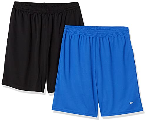Amazon Essentials Men's 2-Pack Loose-Fit Performance Shorts, Black/Royal Blue, Small