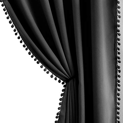 "Pompom Window Curtains for Living Room Bedroom 95 inch Triple Weave Half Blackout Window Curtains for Hotel Guest Room Drapes 50"" w x2 Panels Rod Pocket"