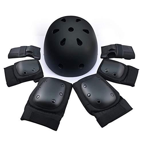 TBATM Helm + Ellbogenschützer + Handballenschutz + Knieschützer, Kinderschutzausrüstung BMX Skating Balancer Roller Rollerblade Radfahren Skateboard für 7St,Black,L