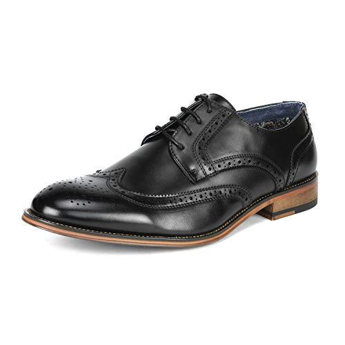 Bruno Marc Louis_1 Zapatos de Cordones Vestir Derby Oxford para Hombre Negro 42.5 EU/9.5 US
