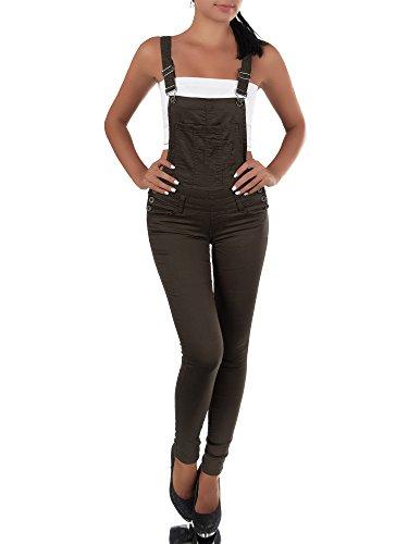 N456 Damen Jeans Hose Hüfthose Damenjeans Hüftjeans Röhrenjeans Röhre Latzhose, Größen:42 (XL), Farben:Khaki
