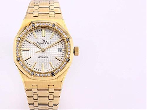 LKYH Klassische Armbanduhr Damen Automatische mechanische Uhr Saphir Edelstahl Eichen Leuchtend 18 Karat Gelbgold Diamanten Lünette RoyalWhite
