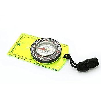 Acrylic Map Ruler Multifunctional Handheld Compass with Magnetic Needle Green+Yellow 105 * 62 * 13.5mm