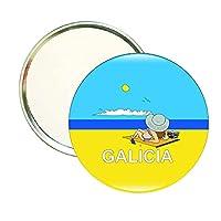 ROUND MIRROR GALICIA TOURISM-BEACH-GIRL SUNBATHING