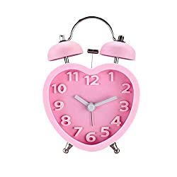 SKAISK Double Bell Alarm Clock for Heavy Sleepers,Classic Portable Heart-Shaped Desktop Alarm Clock,Lovely Present or Home Decoration