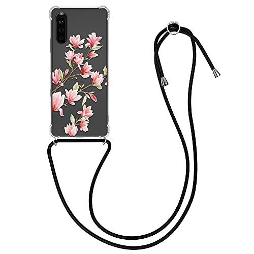 kwmobile Hülle kompatibel mit Sony Xperia 10 III - Silikon Handyhülle mit Kette - Rosa Weiß Transparent Magnolien