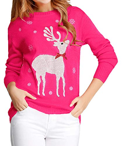 Hot Pink Ugly Christmas Sweater for Women Reindeer Funny Merry Xmas Knit Sweaters