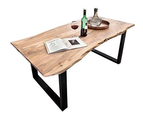 SAM® Stilvoller Esszimmertisch Quentin 160x90 cm aus Akazie-Holz, Tisch mit schwarz lackierten Beinen, Baum-Tisch mit naturbelassener Optik