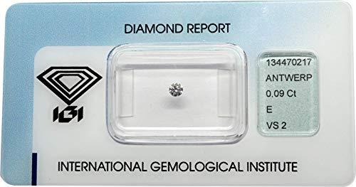 Diamant 0,09 ct/Karat, Farbe: E, Reinheit: VS2, Schliff/Glanz/Symmetrie: VERY GOOD/GOOD/VERY GOOD, IGI Zertifikat