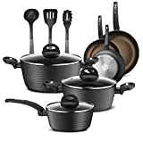 NutriChef 12-Piece Nonstick Kitchen Cookware Set - Professional Hard Anodized Home Kitchen Ware…