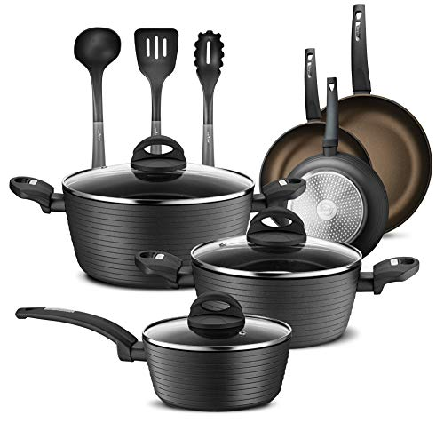 NutriChef Ridge Line Nonstick Kitchen Cookware Pots and Pan, 12 Piece Set, Gray