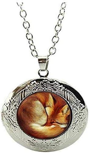 Fox Locket Necklace red Fox Jewelry Animal Jewelry Art Picture Jewelry