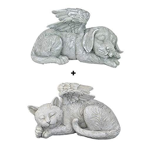 Fly-Dream - Statua di angelo per animali domestici, 1/2 pezzi, super carina che dorme cane/gatto nell'ala dell'angelo in resina, ornamento da giardino