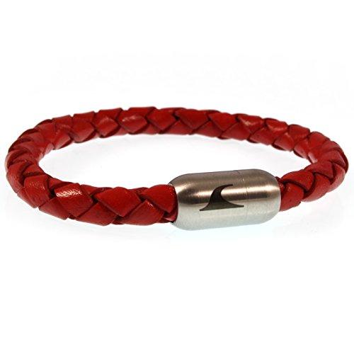 WAVEPIRATE® Echt Leder-Armband Sylt F Rot 19 cm Edelstahl-Verschluss in Geschenk-Box Männer Damen Herren