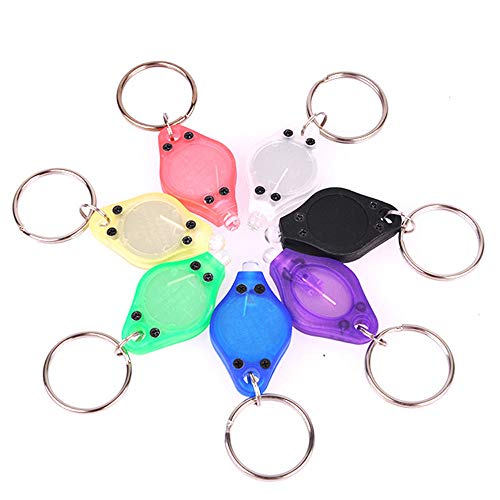 RaySoar (Pack of 7) Ultra Bright Mini LED Keychain Flashlight, Key ring Flashlight, Keychain LED Flashlight, LED Keychain Light - White Light with 7 Colors Shell