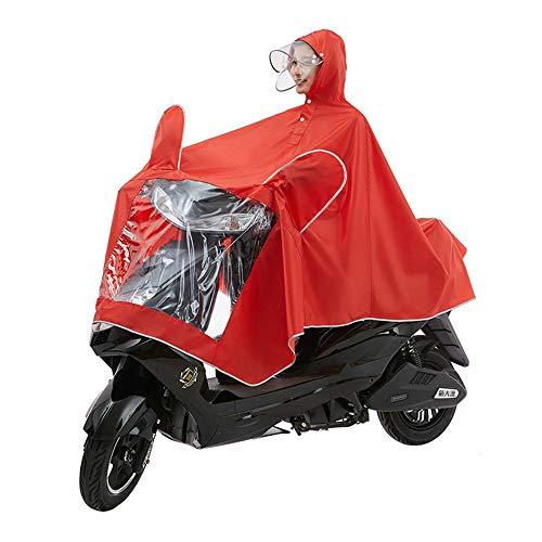 WXH Manteau imperméable Double Poncho Oxford châle vêtements Veste imperméable Grand Respirant Hommes et Femmes avec Miroir imperméable à l'eau Moto Scooter équitation vélo,Red