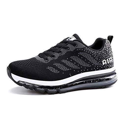 Smarten Zapatillas de Running Hombre Mujer Air Correr Deportes Calzado Verano Comodos Zapatillas Sport Black White 42 EU