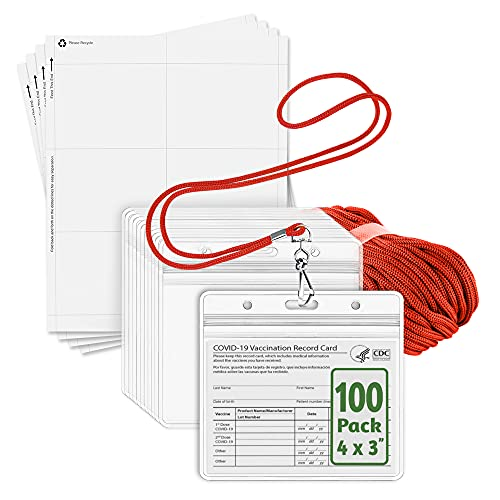 EcoEarth ID Badge Holder with Lanyard and Paper Kit (Red Lanyards, Clear 4x3 Inch Tag Holders, 100 Pack) 3-Piece Set of Plastic Pouch, Lanyard, and Name Card All-in-One