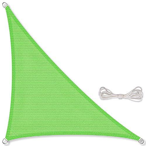 CelinaSun Sonnensegel inkl Befestigungsseile HDPE wetterbeständig atmungsaktiv Dreieck rechtwinklig 4,2 x 4,2 x 6 m grün
