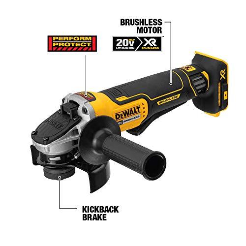DEWALT 20V MAX Angle Grinder Tool Kit, 4-1/2-Inch, Paddle Switch with Brake (DCG413R2)