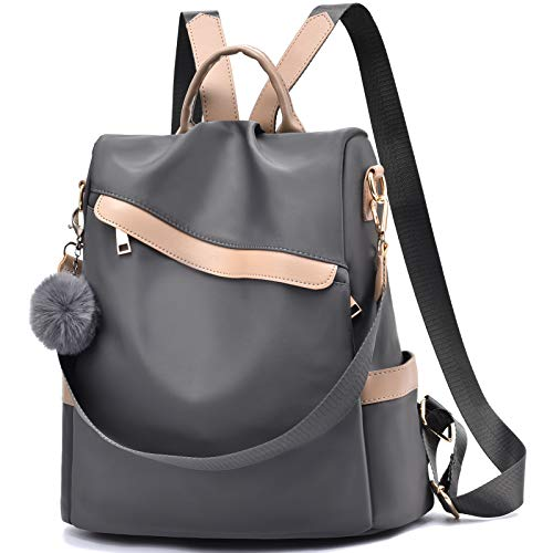 Backpack Purse for Women Large Capacity Nylon Lightweight Backpack Anti-theft School Backpack Bookbag for Girls,Grey