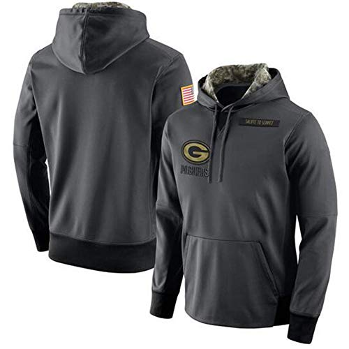 FWHACMT NFL Hoodie Green Bay Packers Grau Fans Kapuzenpullover Herren Pullover Sweatshirts für American Football Fans Bekleidung Camo Sweater - 2019 Salute to Service Armee,XL