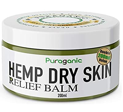 Hemp Dry Skin Relief Balm   Premium Natural Extracts' Ointment Helps Heal Irritated Skin, Psoriasis & Eczema, Soothe Dry, Itchy Skin, Reduces Scars & Stretch Marks, Anti-Aging (200ml) by Puraganic