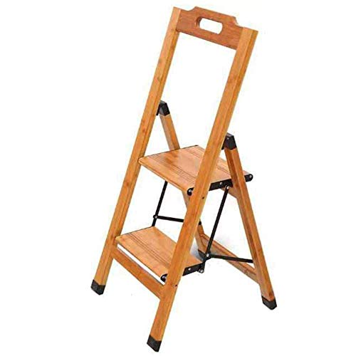 Taburete Taburete plegable de 2 escalones Escalera de pie Escalera multifunción Puede hacer Soporte de flores Escalera de madera de bambú de un solo lado Pasamanos de seguridad Taburete con peldaños C