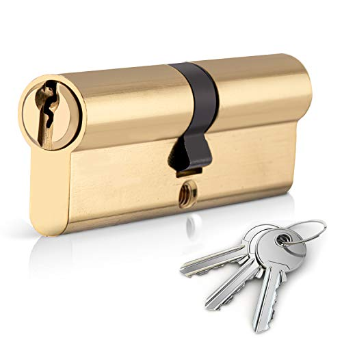 XFORT Euro Cylinder Lock 40/50 (90mm), Euro Door Barrel Lock with 3 Keys, Anti-Bump, Anti-Drill and Anti-Pick Door Lock with Key to Ensure High Security for Wooden, Metal, UPVC and Composite Doors