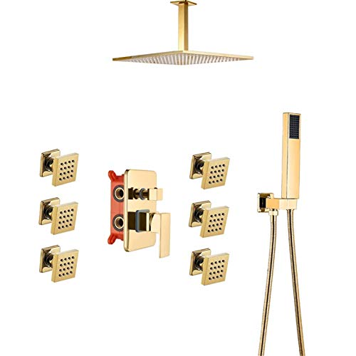 HNBMC Sistema de Ducha de baño montado en el Techo, 6 Piezas de rotación de Masaje con Ducha de hidromasaje Grifo, Conjunto de Ducha Oculto Dorado,10 Inch