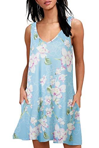 Sommerkleid Damen Tunika T Shirt Kleid Bluse àrmellos MiniKleid Boho Kleider V-Ausschnitt mit Taschen, Blume Hellblau, XL
